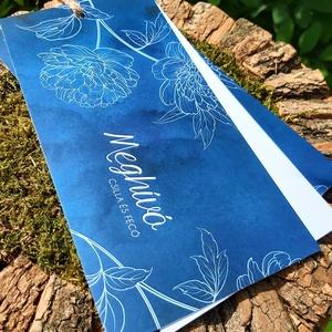 BLUE PEONY esküvői meghívó, Esküvő, Meghívó & Kártya, Meghívó, Fotó, grafika, rajz, illusztráció, Mindenmás, BLUE PEONY ESKÜVŐI MEGHÍVÓ (LA4 méret) \n\nA meghívó 2 db kétoldalt nyomtatott lapból áll, madzaggal á..., Meska