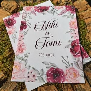 BURGUNDI esküvői meghívó, Esküvő, Papírművészet, Fotó, grafika, rajz, illusztráció, BURGUNDI ESKÜVŐI MEGHÍVÓ (A5 vagy A6 méretben) \n\nA meghívó 1 db kétoldalon nyomtatott lapból áll + t..., Meska
