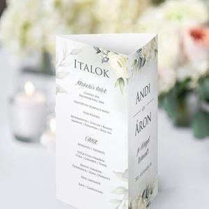 WHITE FLOWERS menülap - esküvő - dekoráció - tálalás - Meska.hu