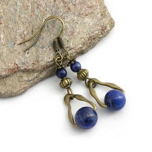 Varázsos csillagpor - Antik bronz fülbevaló lapis lazuli ásványgyöngyökkel (Rosetta) - Meska.hu