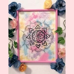 Rózsaszín mandala, Művészet, Festmény, Festmény vegyes technika, Festészet, Fotó, grafika, rajz, illusztráció, Több technikával készült Rózsaszín Mandala képkeretben.\nEz a dekoráció tökéletes dísze lesz lakásodn..., Meska