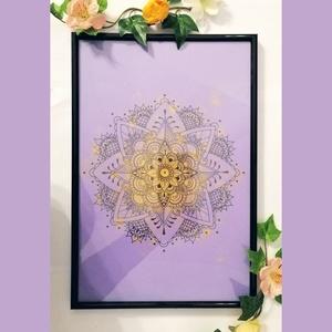 Lila-Arany Mandala , Művészet, Festmény, Festmény vegyes technika, Festészet, Fotó, grafika, rajz, illusztráció, Több technikával készült Lila-Arany Mandala képkeretben.\nEz a dekoráció tökéletes dísze lesz lakásod..., Meska
