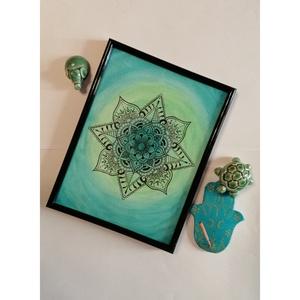 Zöld Mandala , Művészet, Festmény, Festmény vegyes technika, Festészet, Fotó, grafika, rajz, illusztráció, Több technikával készült Zöld Mandala képkeretben.\nEz a dekoráció tökéletes dísze lesz lakásodnak! :..., Meska
