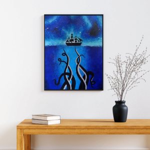 Kraken festmény , Művészet, Festmény, Akril, Festészet, Akril festékkel vászonra készített, Krakent ábrázoló festmény.\nEz a kép tökéletes dísze lesz lakásod..., Meska