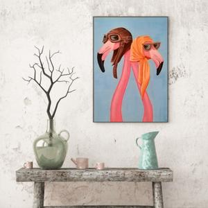 Páros flamingó festmény , Művészet, Festmény, Akril, Festészet, Akril festékkel vászonra készített, Flamingó párt ábrázoló festmény.\nEz a kép tökéletes dísze lesz l..., Meska