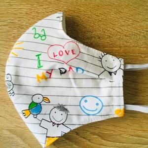 Gyerek rajzok  /arcmaszk - gyerek méret , Gyerek, Maszk, Arcmaszk, Varrás, Arcmaszk gyerek rajz mintás anyag és pamutvászon béléssel készül. \nA fejrészen és a nyakon álló gumi..., Meska