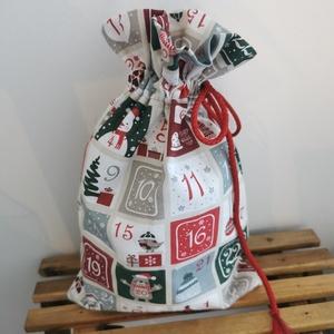 Karácsonyi zsákok (kalendárium mintás), Művészet, Textil, Egyéb, Varrás, Karácsonyi zsákok különböző mintával elérhetőek oldalamon.\nAnyaguk pamut, pamutvászon.\n\nKicsi mérete..., Meska