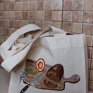 Pékáru Bevásárló Vászontáska  I Kézzel festett  I, Táska & Tok, Bevásárlás & Shopper táska, Kenyeres zsák, Festészet, A 100% pamutvászon táskára saját illusztrációmat festettem rá textilfestékkel., ezután fixáltam, így..., Meska