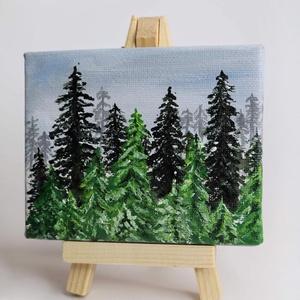 Fenyőerdő I Mini Vászonkép Állvánnyal, Művészet, Festmény, Akril, Festészet, Ez a kép egy 10x8 cm-es feszített vászonra lett festve jó minőségű akrilfestékkel. \n\nA mini képhez a..., Meska