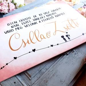 Esküvői köszöntő tábla, Esküvő, Dekoráció, Tábla & Jelzés, Festett tárgyak, Festészet, Esküvői fatábla, köszöntő tábla.\nSzívvel -lélekkel készült csodák❤\nA megrendelő kérésére az esküvő s..., Meska