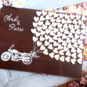 Esküvői alternatív vendégkönyv, Esküvő, Emlék & Ajándék, Vendégkönyv, Festett tárgyak, Festészet, Esküvői fatábla, alternatív vendégkönyv\nSzívvel -lélekkel készült csodák❤\nSzives vendégkönyv esküvőr..., Meska
