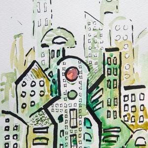 City 16. - akvarell, filc, Művészet, Festmény, Akvarell, Festészet, Ennél a képnél akvarellfestéket és filcet használtam.\n\nMérete: 20,3x15 cm\n\nÁr keret nélkül értendő. ..., Meska