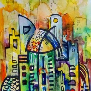 City 24. - akvarell, filc, Művészet, Festmény, Akvarell, Festészet, Fotó, grafika, rajz, illusztráció, Akvarellfestékkel és filccel készült városkép.\n\nMérete: 23,8x31,8 cm\n\n\n\n____________________________..., Meska