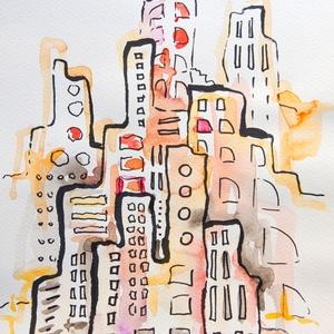 City 26. - akvarell, filc, Művészet, Festmény, Akvarell, Festészet, Fotó, grafika, rajz, illusztráció, Akvarellfestékkel és filccel készült.\n\nMérete: 21x29,7 cm\n\n\n\n_______________________________________..., Meska