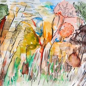 Erdő - akvarell, filc, Művészet, Festmény, Akvarell, Festészet, Fotó, grafika, rajz, illusztráció, Akvarellfestékkel és filccel készült.\n\nMérete: 23,8x 18cm\n\n\n\n_______________________________________..., Meska