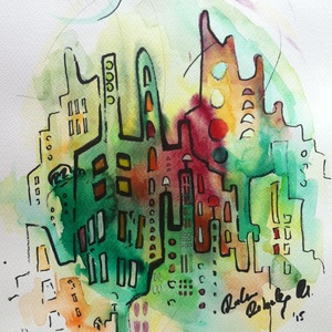 City 34. - akvarell, filc, Művészet, Festmény, Akvarell, Festészet, Fotó, grafika, rajz, illusztráció, Filc és akvarell használatával készült. \n\nMérete: 32x24 cm\n\n\n\n______________________________________..., Meska