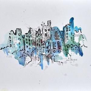 Sarkvidék - akvarell, Művészet, Festmény, Akvarell, Festészet, Fotó, grafika, rajz, illusztráció, Akvarell, filc/ Akvarellpapír 24x32 cm 2015 Budapest, Meska