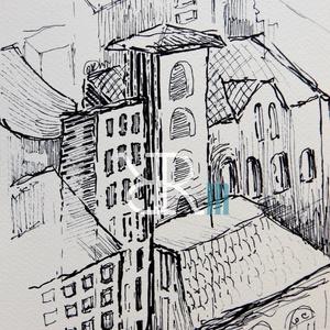 Belváros II. - Tető , Művészet, Festmény, Festmény vegyes technika, Fotó, grafika, rajz, illusztráció, Filc/ Akvarellpapír 24x16 cm Budapest , Meska