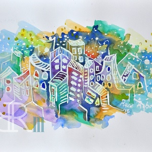 """Akvarell kép - \""""cukor\"""", Művészet, Festmény, Akvarell, Festészet, Fotó, grafika, rajz, illusztráció, Akvarell/ akvarellpapír 24x32 cm 2015. Budapest\n, Meska"""
