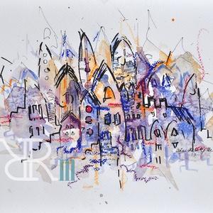 Rakéta - akvarell, Művészet, Festmény, Akvarell, Festészet, Fotó, grafika, rajz, illusztráció, Akvarell, filc, pasztell/ Akvarellpapír 24x32 cm 2015 Budapest, Meska