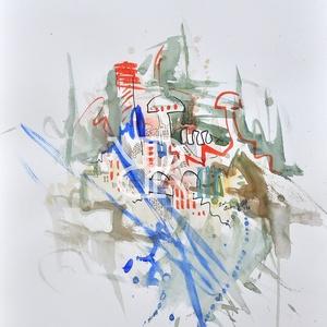Kráter - akvarell, Művészet, Festmény, Akvarell, Fotó, grafika, rajz, illusztráció, Festészet, Akvarell, filc/Akvarellpapír 48x36 cm 2016 Budapest, Meska