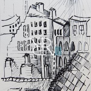 Belváros I. Árnyékvilág - filc, Művészet, Festmény, Akvarell, Fotó, grafika, rajz, illusztráció, Filc/ Akvarellpapír 24x16 cm 2015. Budapest, Meska