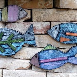 Nyári halak - faldekoráció, Otthon & Lakás, Dekoráció, Falra akasztható dekor, Újrahasznosított alapanyagból készült termékek, Meska