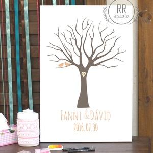 Esküvői Ujjlenyomat fa, Feszített vászon kép, Falikép, fa, madár, esküvői dekoráció, modern vendégkönyv, ujjlenyomat, Vendégkönyv, Emlék & Ajándék, Esküvő, Fotó, grafika, rajz, illusztráció, 35x55cm Feszített Vászon Ujjlenyomat FA\n\nModern Vendégkönyv Esküvőre.\nA vendégek ujjlenyomatai adják..., Meska