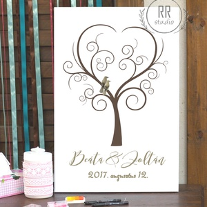 Esküvői Ujjlenyomat fa, Feszített vászon kép, Falikép, fa, madár, esküvői dekoráció, modern vendégkönyv, ujjlenyomat, Vendégkönyv, Emlék & Ajándék, Esküvő, Fotó, grafika, rajz, illusztráció, 30x40cm Feszített Vászon Ujjlenyomat FA\n\nModern Vendégkönyv Esküvőre.\nA vendégek ujjlenyomatai adják..., Meska