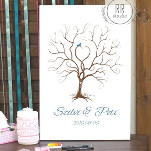 Esküvői Ujjlenyomat fa, Feszített vászon kép, Falikép, fa, madár, esküvői dekoráció, modern vendégkönyv, ujjlenyomat, Esküvő, Nászajándék, Esküvői dekoráció, Otthon & lakás, Fotó, grafika, rajz, illusztráció, 35x55cm Feszített Vászon Ujjlenyomat FA\n\nModern Vendégkönyv Esküvőre.\nA vendégek ujjlenyomatai adják..., Meska