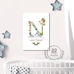 A3 Betű vízfesték hatású, név, Gyerekszoba Kép, babaszoba dekoráció, falikép, monogram, kisfiú, erdő, mókus, ősz (RRstudio) - Meska.hu