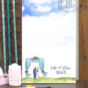 Egyedi Esküvői Ujjlenyomat kép, Feszített vászon, Falikép, esküvői dekoráció, modern vendégkönyv, ujjlenyomat, eső, rét, Vendégkönyv, Emlék & Ajándék, Esküvő, Fotó, grafika, rajz, illusztráció, 30x40cm Feszített Vászon Ujjlenyomat FA\n\nModern Vendégkönyv Esküvőre.\nA vendégek ujjlenyomatai esőcs..., Meska