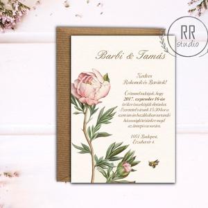 Vintage Esküvői meghívó, Botanikus virág, Vintage garden, Vintage virág, Esküvői meghívó, Natúr meghívó, Természetközeli, Meghívó, Meghívó & Kártya, Esküvő, Fotó, grafika, rajz, illusztráció, Különleges Minőségi Esküvői Meghívó\n\n* MEGHÍVÓ BORÍTÉKKAL\nMeghívó lap, egy oldalas nyomtatás: kb.: 1..., Meska
