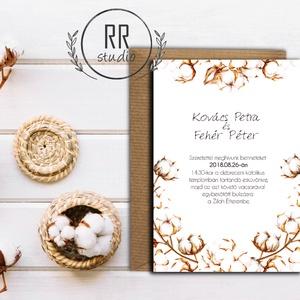 Natúr Esküvői meghívó, Természetközeli meghívó, Rusztikus meghívó, Esküvői meghívó, Natúr meghívó, cotton, vintage, Esküvő, Esküvői dekoráció, Meghívó, ültetőkártya, köszönőajándék, Naptár, képeslap, album, Otthon & lakás, Fotó, grafika, rajz, illusztráció, Különleges Minőségi Esküvői Meghívó\n\n* MEGHÍVÓ BORÍTÉKKAL\nMeghívó lap, egy oldalas nyomtatás: kb.: 1..., Meska
