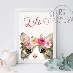 Cica Vízfesték Kép, Gyerekszoba Falikép, babaszoba dekoráció, macska, házi cica, cirmos, kisállat, állatos, virágos (RRstudio) - Meska.hu