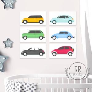 6 db-os Autó Print Szett 13x18 cm, Auto, kocsi, kép, fiú szoba dekoráció, kisfiú, traktor, busz, jármű, Kép & Falikép, Dekoráció, Otthon & Lakás, Fotó, grafika, rajz, illusztráció, 6 db-ból álló Print Szett 13x18cm\n\n* KERET NÉLKÜL *\n\n\n* KIVITELEZÉS & ELKÉSZÍTÉS:\nFelszerelt stúdión..., Meska