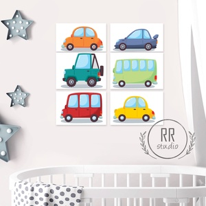 6 db-os Autó Print Szett 13x18 cm, Auto, kocsi, kép, fiú szoba dekoráció, kisfiú, traktor, busz, jármű (RRstudio) - Meska.hu