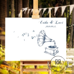 Esküvői Ujjlenyomatgyűjtő vendégköny, gramofon, zene, hangjegy, Falikép, modern vendégkönyv, ujjlenyomat, music, Vendégkönyv, Emlék & Ajándék, Esküvő, Fotó, grafika, rajz, illusztráció, 35x55cm Feszített Vászon kép, Ujjlenyomatgyűjtő\n\nModern Vendégkönyv Esküvőre.\n\nVakrámára feszített v..., Meska