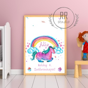 Ujjlenyomatgyűjtő, Szülinapi ajándék, szülinap, unikornis, póni, ló, szivárvány, ujjlenyomat falikép, gyerekszoba, Gyerek & játék, Gyerekszoba, Baba falikép, Fotó, grafika, rajz, illusztráció, Minőségi Papír Print A4\n\nTökéletes ajándék és program szülinapra, a gyerekek ujjlenyomata adja majd ..., Meska