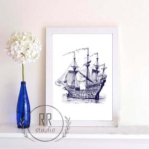 Nautical Falikép, otthoni dekoráció, nyári, tenger, kagyló, kép, hajó, tengerész, Falra akasztható dekor, Dekoráció, Otthon & Lakás, Fotó, grafika, rajz, illusztráció, A4 Minőségi Papír Print Nyomtatás\n\n* KERET NÉLKÜL *\n\n\n* KIVITELEZÉS & ELKÉSZÍTÉS:\nFelszerelt stúdión..., Meska