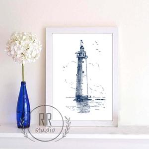 Nautical Falikép, otthoni dekoráció, nyári, tenger, kagyló, kép, világítótorony, tengerész, Falra akasztható dekor, Dekoráció, Otthon & Lakás, Fotó, grafika, rajz, illusztráció, A4 Minőségi Papír Print Nyomtatás \n\n* KERET NÉLKÜL *\n\n\n* KIVITELEZÉS & ELKÉSZÍTÉS:\nFelszerelt stúdió..., Meska