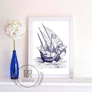 Nautical Falikép, otthoni dekoráció, nyári, tenger, kagyló, kép, hajó, tengerész, Felirat, Dekoráció, Otthon & Lakás, Fotó, grafika, rajz, illusztráció, A4 Minőségi Papír Print Nyomtatás \n\n* KERET NÉLKÜL *\n\n\n* KIVITELEZÉS & ELKÉSZÍTÉS:\nFelszerelt stúdió..., Meska