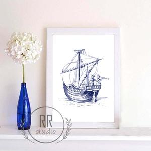 Nautical Falikép, otthoni dekoráció, nyári, tenger, kagyló, kép, hajó, tengerész, Falra akasztható dekor, Dekoráció, Otthon & Lakás, Fotó, grafika, rajz, illusztráció, A4 Minőségi Papír Print Nyomtatás \n\n* KERET NÉLKÜL *\n\n\n* KIVITELEZÉS & ELKÉSZÍTÉS:\nFelszerelt stúdió..., Meska