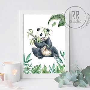 Trópusi állat, panda, medve, maci, bambusz, Dzsungel, Vízfesték Kép, Gyerekszoba Falikép, babaszoba dekoráció, állatos, , Otthon & Lakás, Kép & Falikép, Dekoráció, A4 Minőségi Papír Print Nyomtatás  * KERET NÉLKÜL *   * KIVITELEZÉS & ELKÉSZÍTÉS: Felszerelt stúdión..., Meska