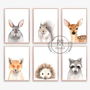 Erdei Állatos, 6db, Babaszoba fali dekoráció, vízfesték, róka, nyúl, őz, mókus, süni, medve, fali kép, A4 méret, Gyerek & játék, Gyerekszoba, Baba falikép, Otthon & lakás, Dekoráció, Fotó, grafika, rajz, illusztráció, A4 Minőségi Papír Print Nyomtatás \n6db-os szett\n\n* KERET NÉLKÜL *\n\n\n* KIVITELEZÉS & ELKÉSZÍTÉS:\nFels..., Meska