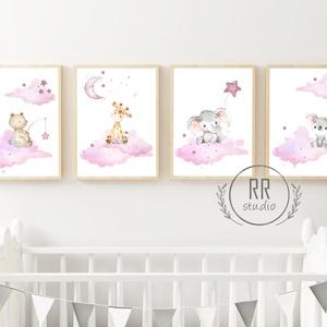 A4-es PRINT SZETT: 4DB Vízfesték hatású állatok, Gyerekszoba Kép, babaszoba dekoráció, falikép, állatos, baby, fiúszoba, Otthon & Lakás, Dekoráció, Kép & Falikép, Fotó, grafika, rajz, illusztráció, A4 Minőségi Papír Print Nyomtatás \n4 DARABOS SZETT / az ár 4 db. képre vonatkozik\n\n* KERET NÉLKÜL *\n..., Meska