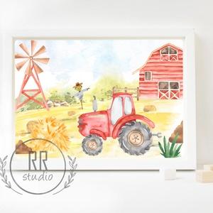Traktor, farm, mezőgazdaság, Babaszoba fali dekoráció, fali kép, A4 méret, Otthon & Lakás, Dekoráció, Kép & Falikép, Fotó, grafika, rajz, illusztráció, A4 Minőségi Papír Print Nyomtatás \n\n* KERET NÉLKÜL *\n\n\n* KIVITELEZÉS & ELKÉSZÍTÉS:\nFelszerelt stúdió..., Meska
