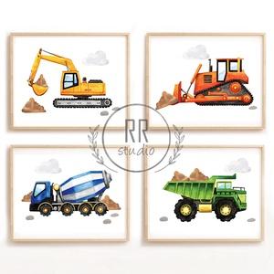 Traktor, dömper, markoló, betonkeverő, építkezési jármű, mezőgazdasági, autó, fiú szoba, dekoráció, fali kép, A4 méret, Otthon & Lakás, Dekoráció, Kép & Falikép, Fotó, grafika, rajz, illusztráció, A4 Minőségi Papír Print Nyomtatás \n4db kép\n\n* KERET NÉLKÜL *\n\n\n* KIVITELEZÉS & ELKÉSZÍTÉS:\nFelszerel..., Meska