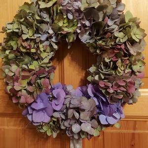 Hortenzia ajtódísz., Ajtódísz & Kopogtató, Dekoráció, Otthon & Lakás, Virágkötés, Hortenzia ajtódísz a natúr dekoráció kedvelőinek., Meska