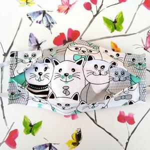 1 db Menta cicás szájmaszk - mosható mintás dupla rétegű maszk, Táska, Divat & Szépség, Szépség(ápolás), Egészségmegőrzés, Maszk, szájmaszk, NoWaste, Textilek, Kendő, Varrás, Pamut anyagból készült szájmaszk, amely fehér gumiszalaggal rögzíthető a fejre, hátlapja fehér pamut..., Meska